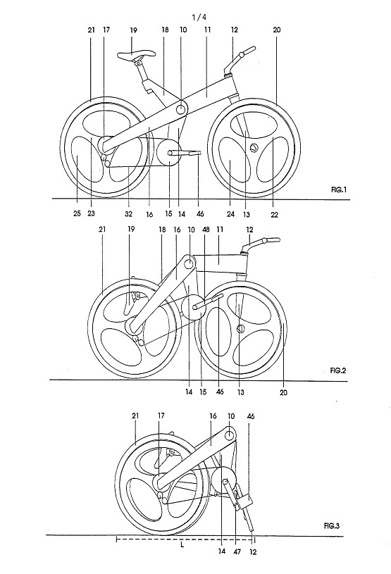CMK folding bike patent drawing