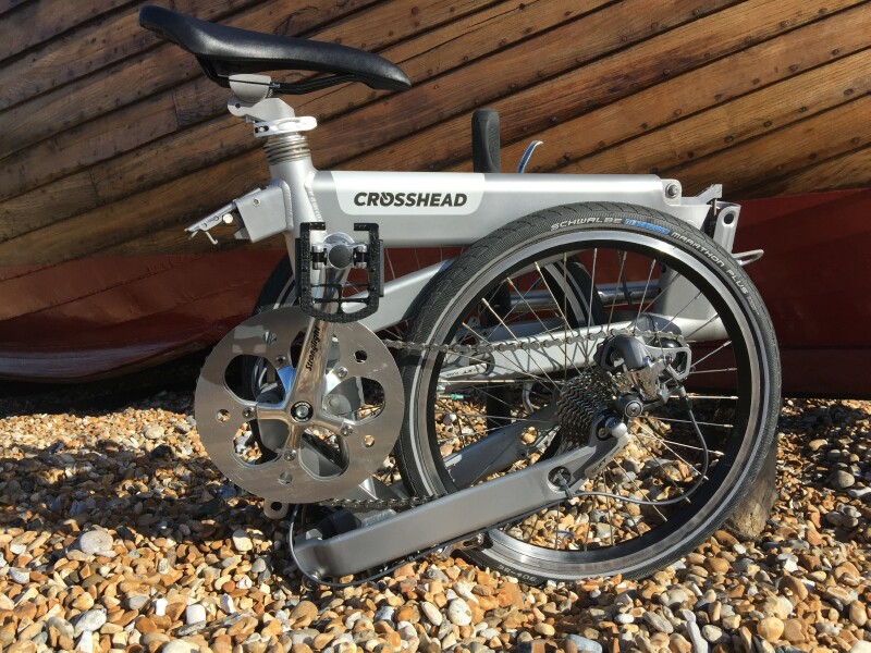 Crosshead folding bike - folded