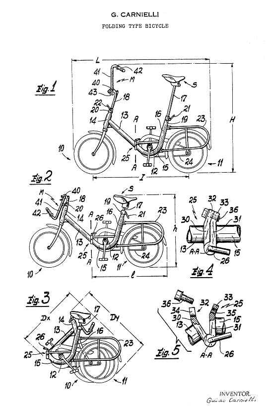 Graziella folding bike patent drawing
