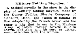 New York Times Dwyer Folding Bicycle Company
