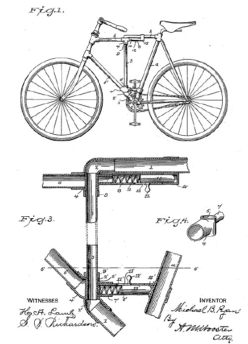 Michael B. Ryan folding bike patent used by Dwyer - 1