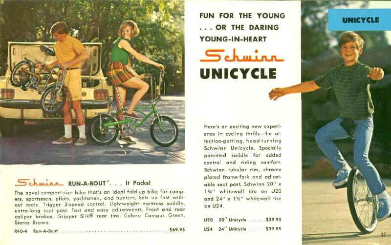 Schwinn Run-A-Bout bicycle catalog - 1970